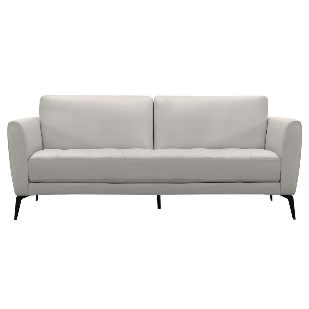 Armen Living Genuine Dove Grey Leather Contemporary Sofa With Black Metal Legs