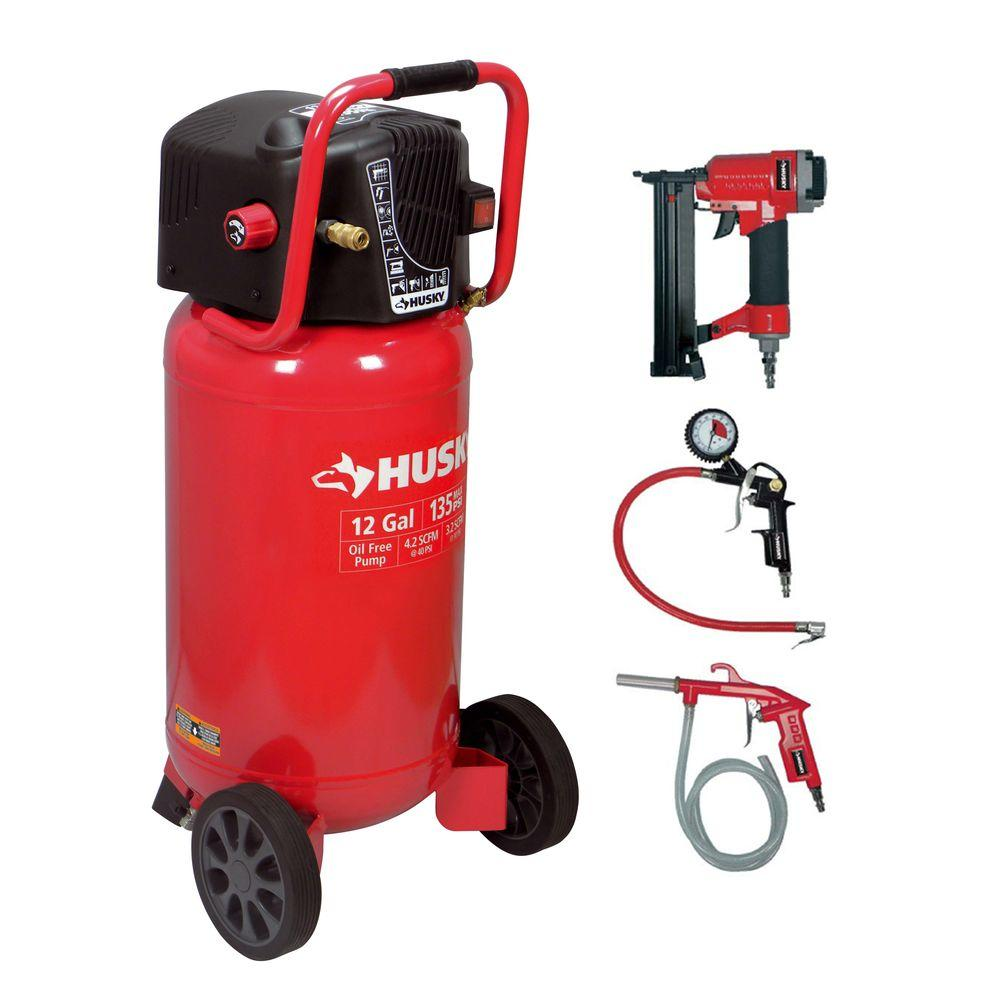 Husky 12 Gal Portable Electric Air Compressor And 2 In 1 Brad Gate Motor Wiring Furthermore Sliding Kits Nailer