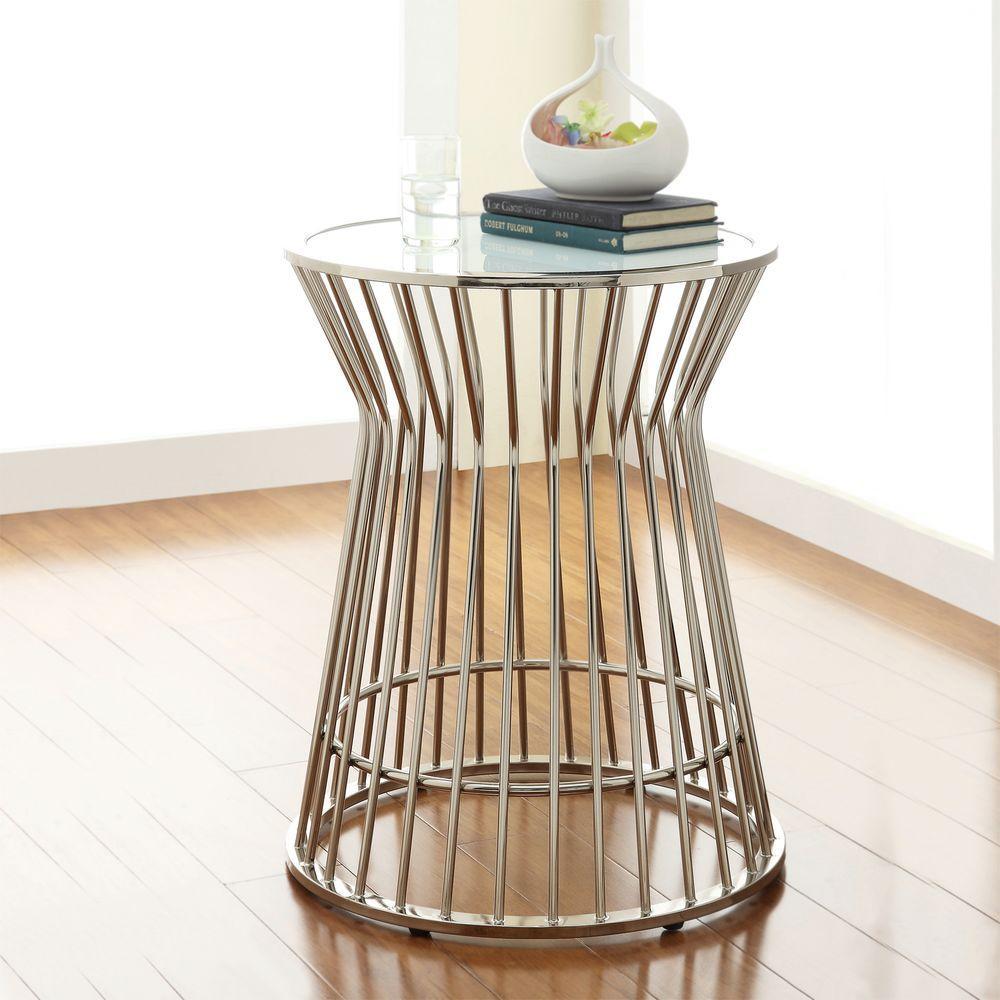 Chrome Drum Coffee Table: HomeSullivan Southgate Chrome Glass Top End Table