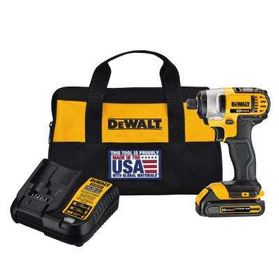 20-Volt MAX Lithium-Ion Cordless 1/4 in. Impact Driver with Battery 1.3Ah, Charger and Contractor Bag