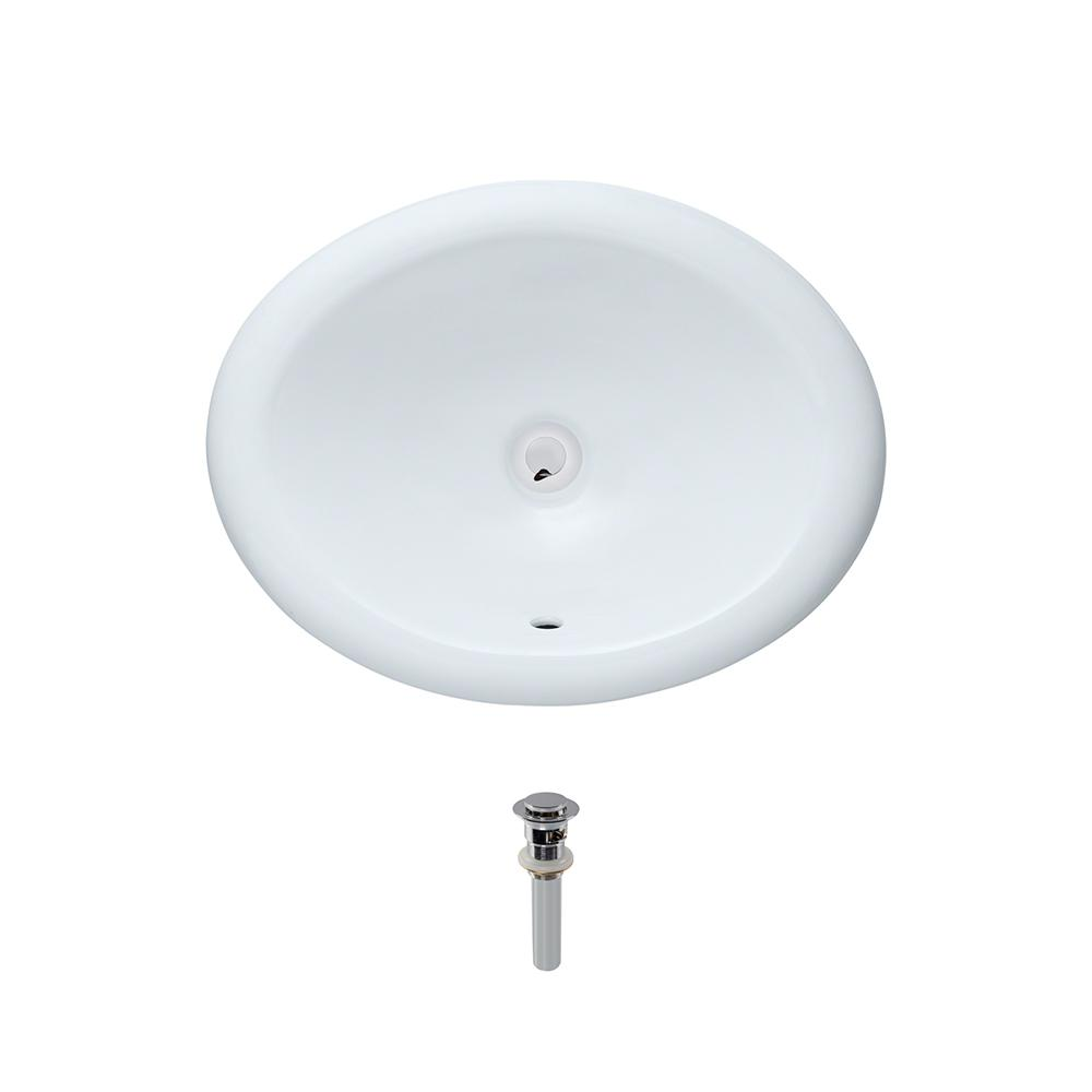 MR Direct Overmount Porcelain Bathroom Sink In White With Pop Up Drain In  Chrome