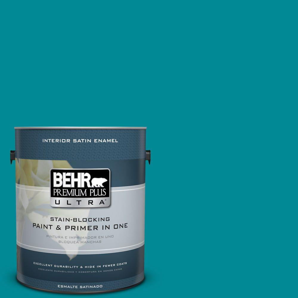 1 gal. #HDC-SM16-06 Blue Slushie Satin Enamel Interior Paint