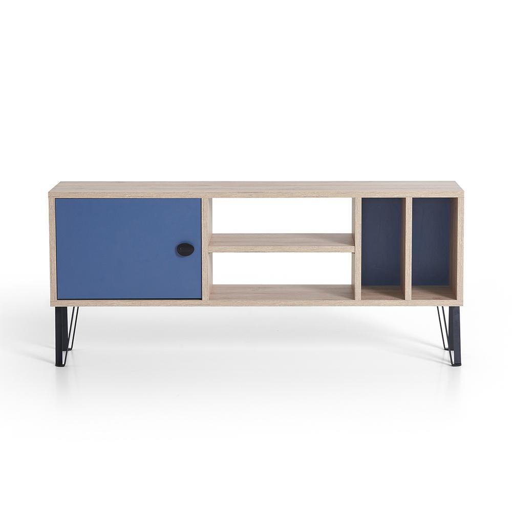 Bronx Oak and Blue Modern TV Stand