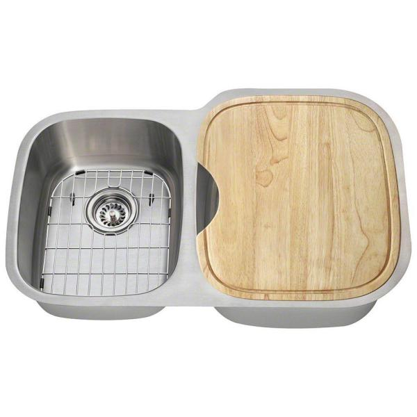 Polaris Sinks All In One Undermount Stainless Steel 32 In Right Double Bowl Kitchen Sink Pr305 16 Ens The Home Depot