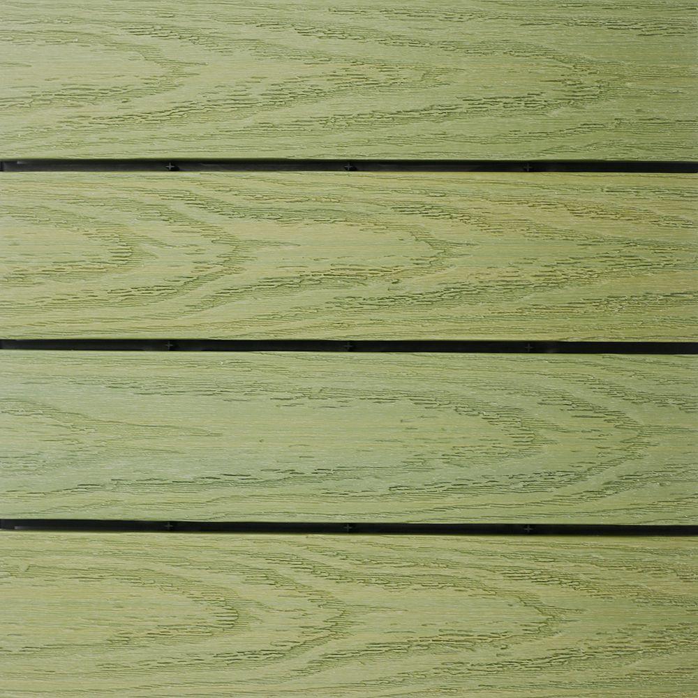 NewTechWood UltraShield Naturale 1 ft. x 1 ft. Quick Deck Outdoor Composite Deck Tile in Irish Green (10 sq. ft. Per Box)