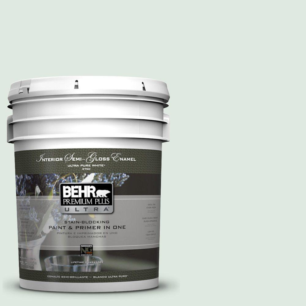 BEHR Premium Plus Ultra 5 gal. #460E-1 Meadow Light Semi-Gloss Enamel Interior Paint and Primer in One