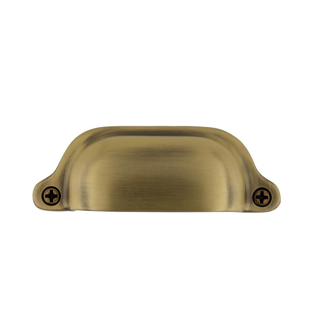 3 in. (76 mm) Antique Brass Drawer Cup Pull Farm Medium