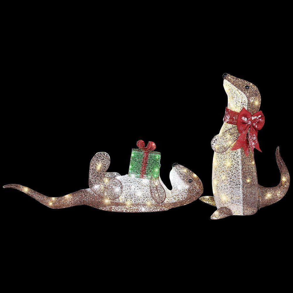 Gemmy in pre lit playful otters set of 2 38397 for Pre lit outdoor decorations