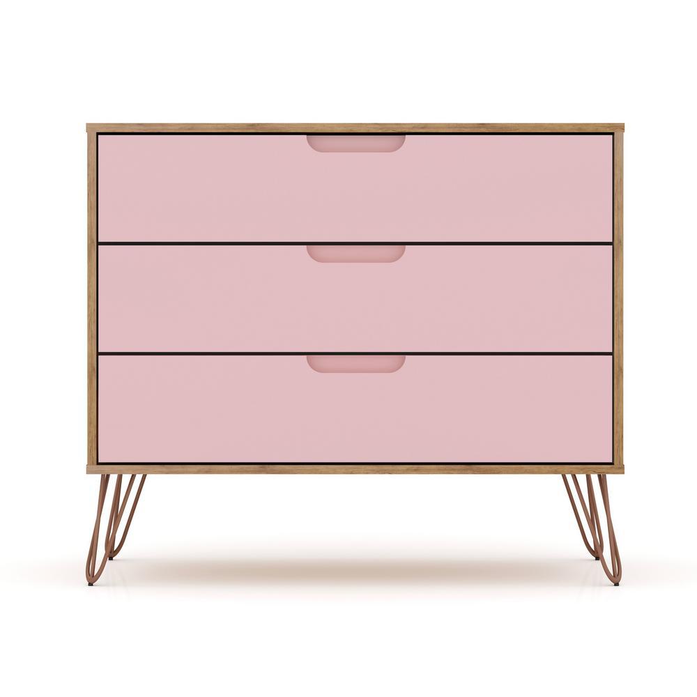 3-Drawer Nature and Rose Pink Mid-Century Modern Dresser