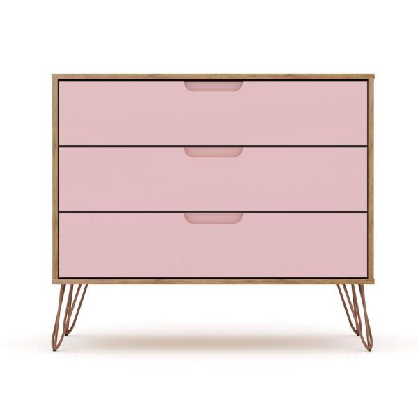 Luxor 3-Drawer Nature and Rose Pink Mid-Century Modern Dresser 103HD7