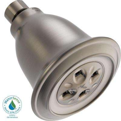 Traditional 1-Spray 3-7/8 in. Water-Efficient Showerhead in Stainless featuring H2Okinetic