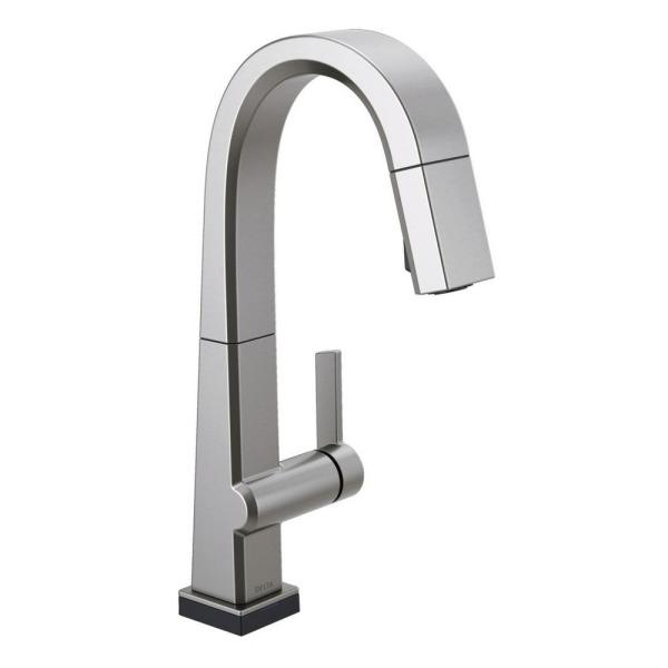 Pivotal Single-Handle Bar Faucet with Touch2O Technology and MagnaTite Docking in Arctic Stainless