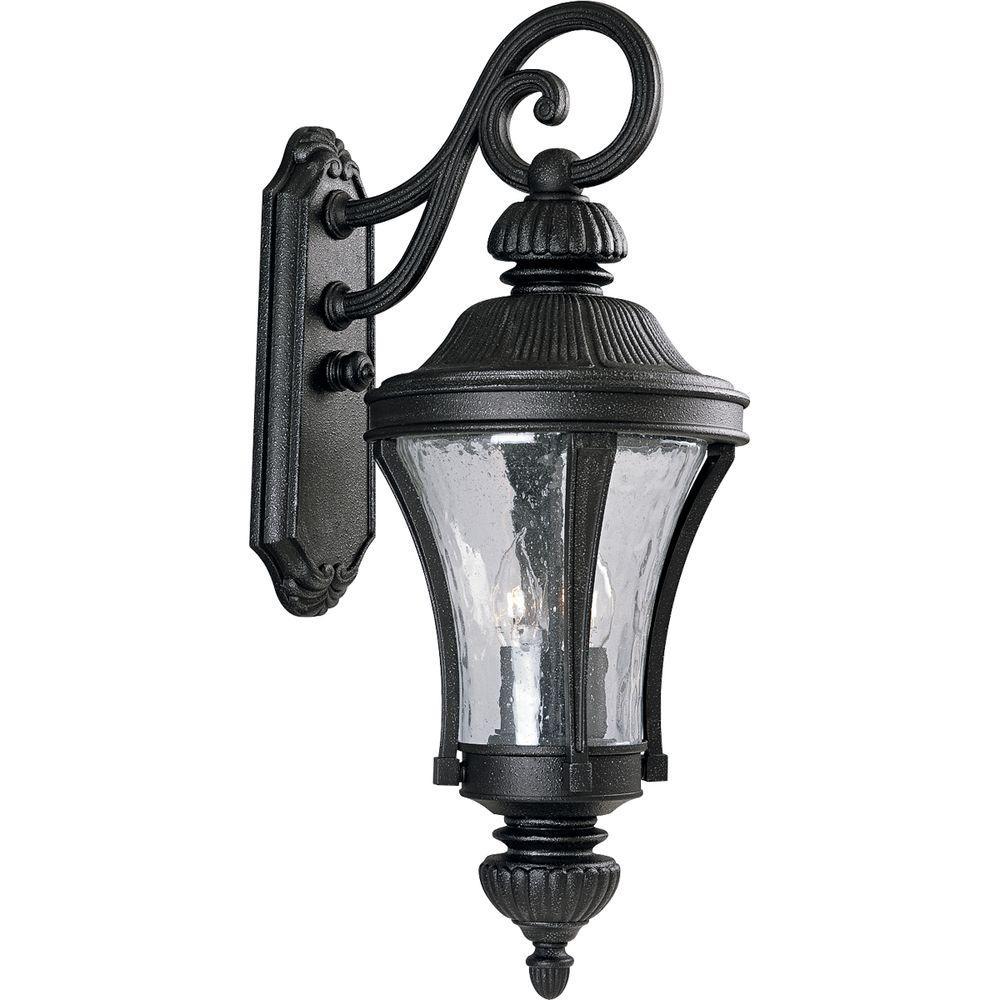 Progress Lighting Nottington Collection Gilded Iron 3-Light 26 in. Outdoor Wall Lantern Sconce