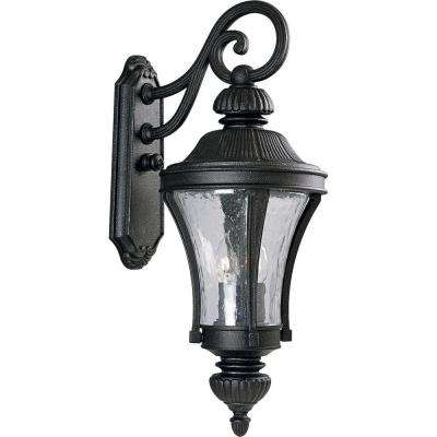 Nottington Collection Gilded Iron 3-Light 26 in. Outdoor Wall Lantern Sconce