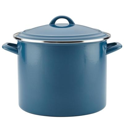 Home Collection 12 qt. Steel Nonstick Stock Pot in Twilight Teal with Lid