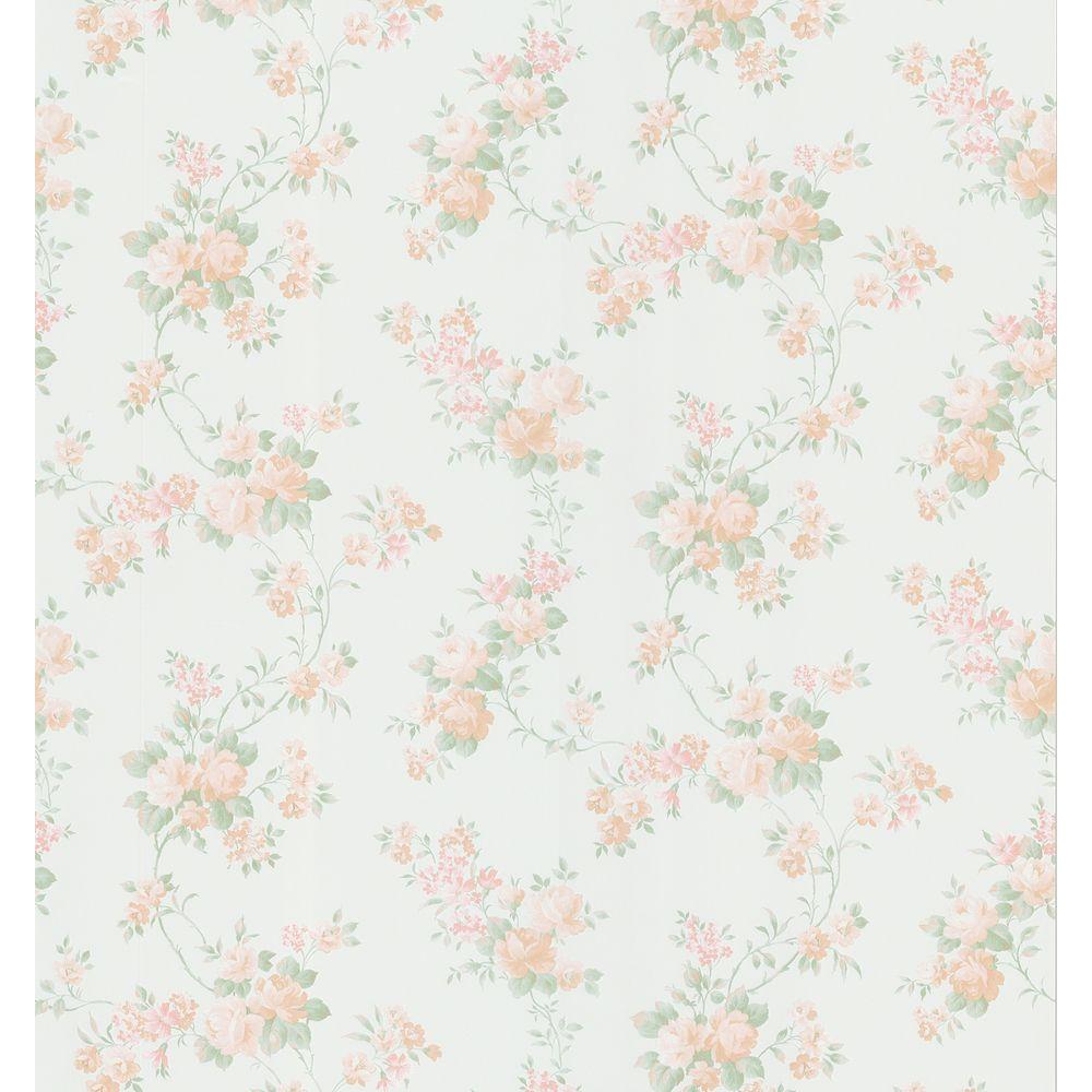 Brewster 8 in. W x 10 in. H Mid-Scale Rose Trai Wallpaper Sample