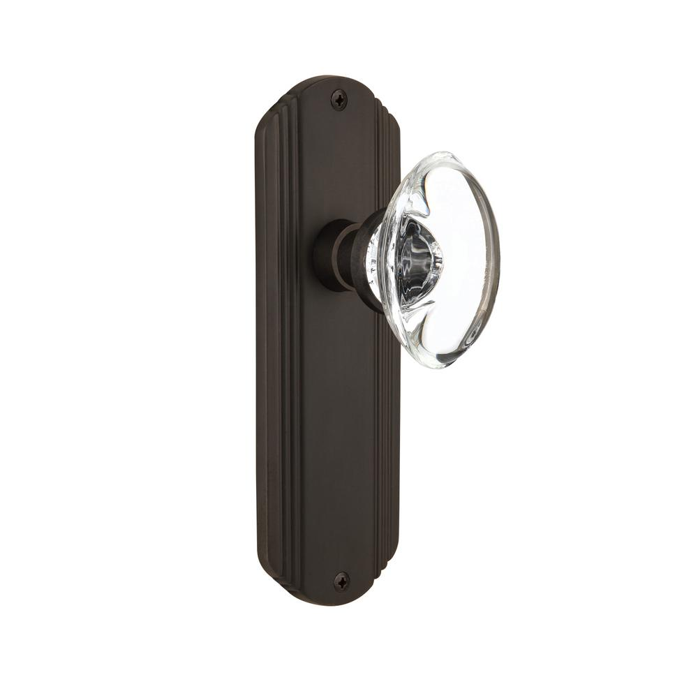 Deco Plate Single Dummy Oval Clear Crystal Glass Door Knob in