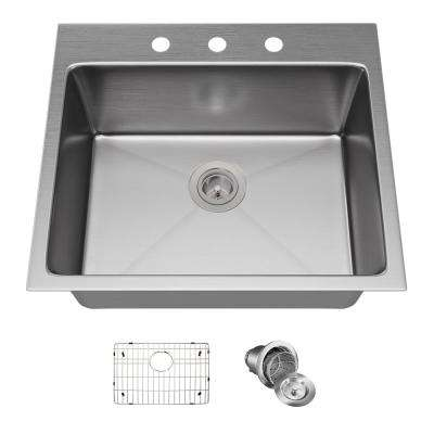 Drop-in Stainless Steel 23 in. 3-Hole Single Bowl Kitchen Sink