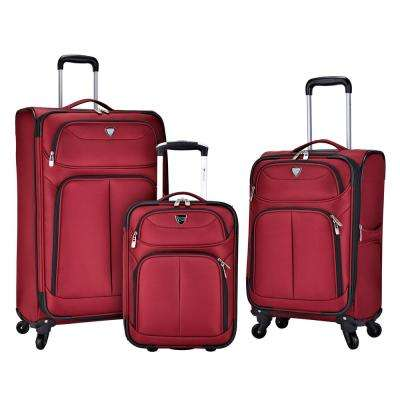 3-Piece Red Softside Luggage Collection with 28 in., 20 in. and 17 in. Vertical Rolling Cases
