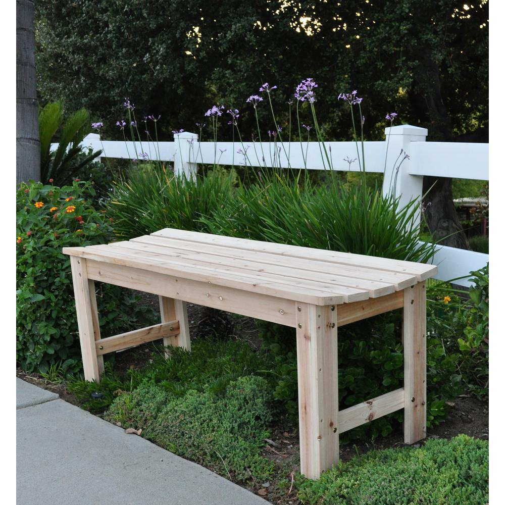 Surprising Shine Company 4 Ft Backless Wood Outdoor Garden Bench In Natural Ocoug Best Dining Table And Chair Ideas Images Ocougorg