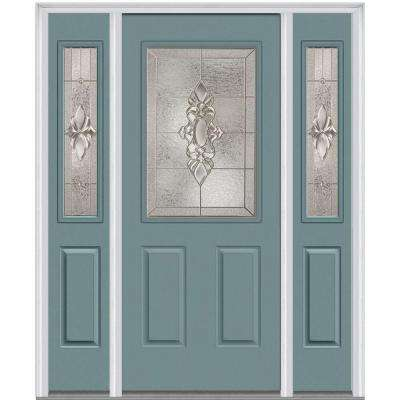 64 in. x 80 in. Heirloom Master Right-Hand Inswing 1/2-Lite Decorative Painted Steel Prehung Front Door with Sidelites