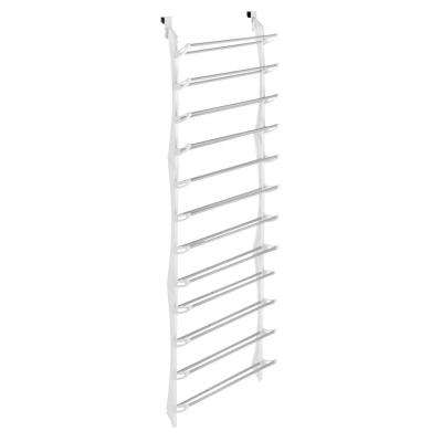 Shoe Rack Collection 22.63 in. x 74.50 in. 36-Pair Resin Over-the-Door Shoe Organizer in White