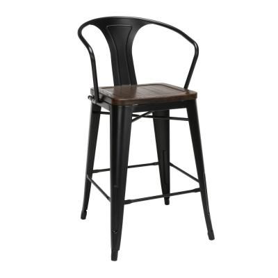 161 Collection Industrial Modern in Black/Walnut with Arms Solid Wood Seats 4-Pack 26 in. Mid Back Metal Bar Stools