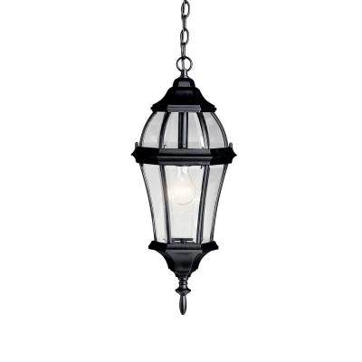 Townhouse 1-Light Black Outdoor Pendant Light with Clear Beveled Glass
