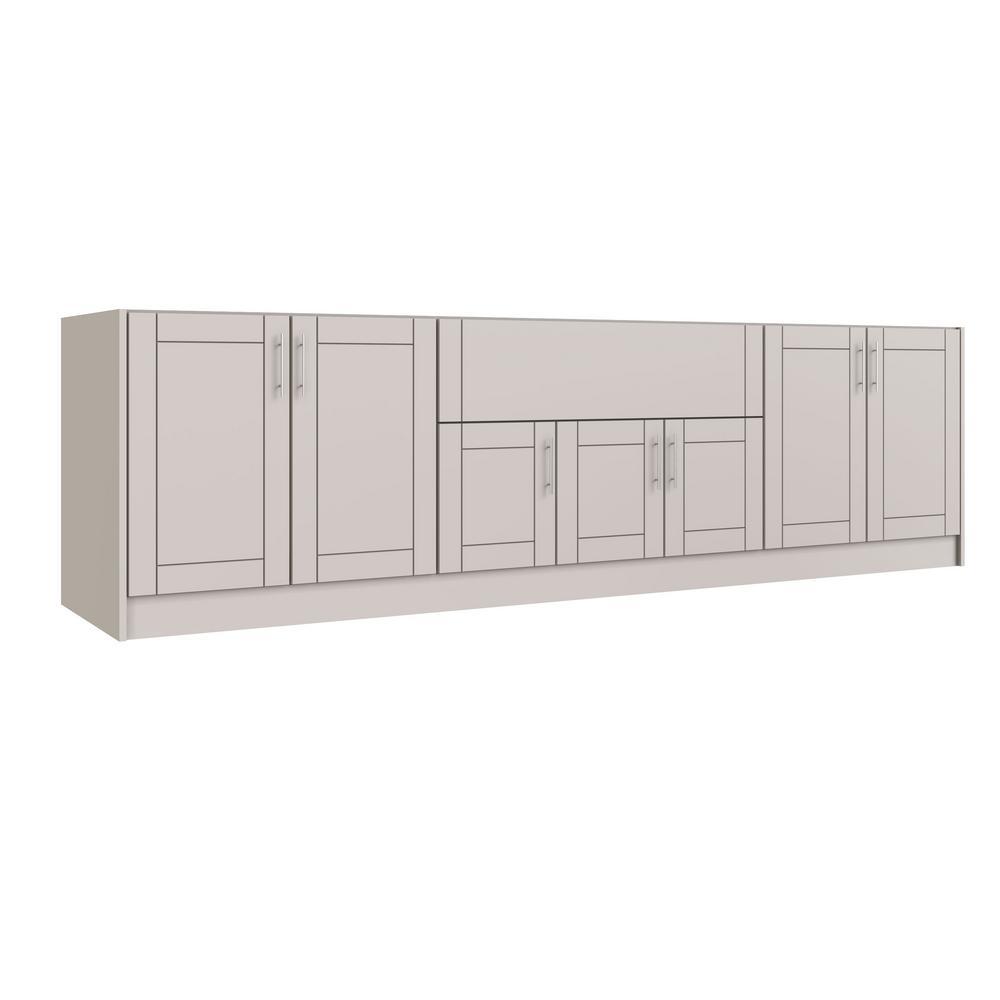 Tampa Shoreline Gray 20-Piece 120 in. x 34.5 in. x 27 in. Outdoor Kitchen Cabinet Island Set