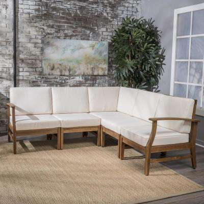 Bethany Teak 5-Piece Wood Sectional Set with Cream Cushions