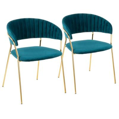 Tania Gold with Teal Velvet Arm Chair (Set of 2)