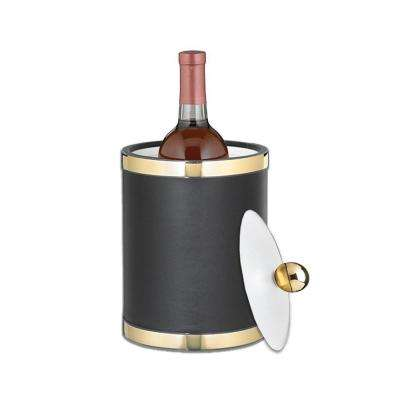 Sophisticates 2 Qt. Black and Polished Brass Tall Ice Bucket with Lucite Lid