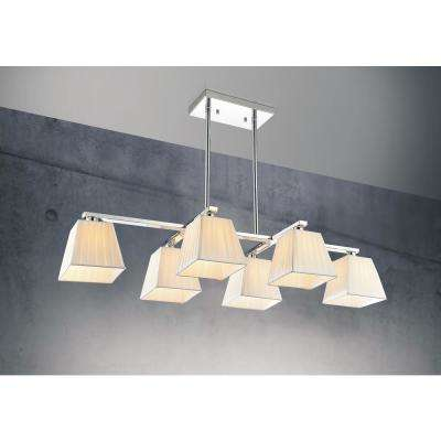 Tilly 6-Light Chrome Chandelier with Beige shade