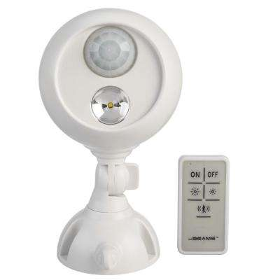 White Wireless White Motion Activated Outdoor Integrated LED Sensing Security Flood Light with Remote Control