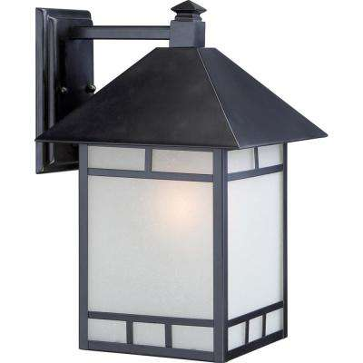 Fatima 1-Light Stone Black Outdoor Wall Mount Sconce