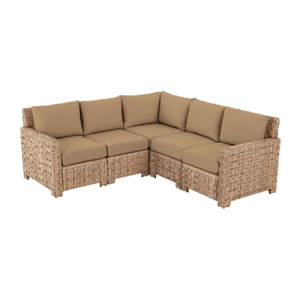 Laguna Point 5-Piece Natural Tan Wicker Outdoor Patio Sectional Sofa with CushionGuard Toffee Tan Cushions