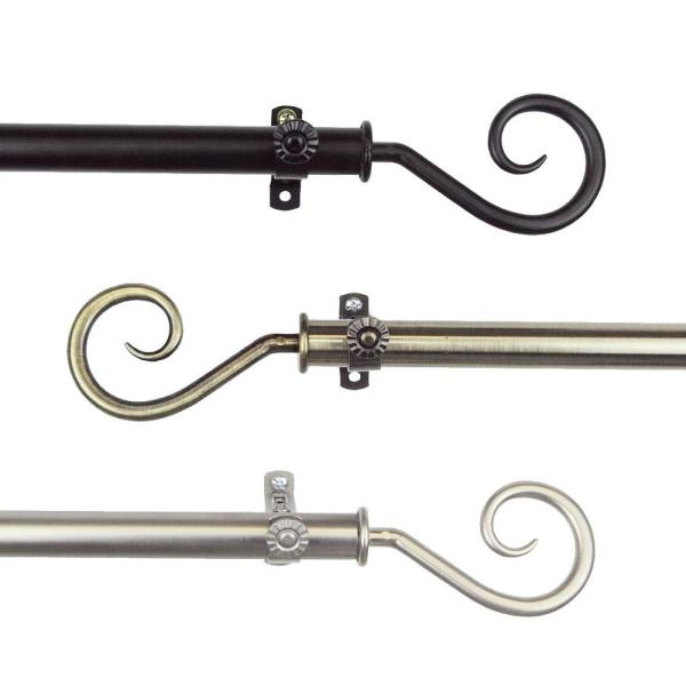 48 in. - 84 in. Telescoping Single Curtain Rod in Satin Nickel with Curl Finial