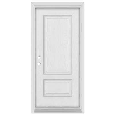 32 in. x 80 in. Infinity Right-Hand Inswing 2 Panel Finished Fiberglass Mahogany Woodgrain Prehung Front Door