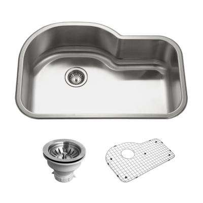 Belleo Series Drop-in Stainless Steel 32 in. Offset Single Bowl Kitchen Sink