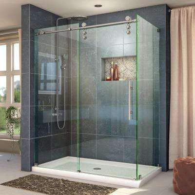Enigma-Z 34-1/2 in. D x 56-3/8 to 60-3/8 in. W x 76 in. H Frameless Sliding Shower Enclosure in Brushed Stainless Steel
