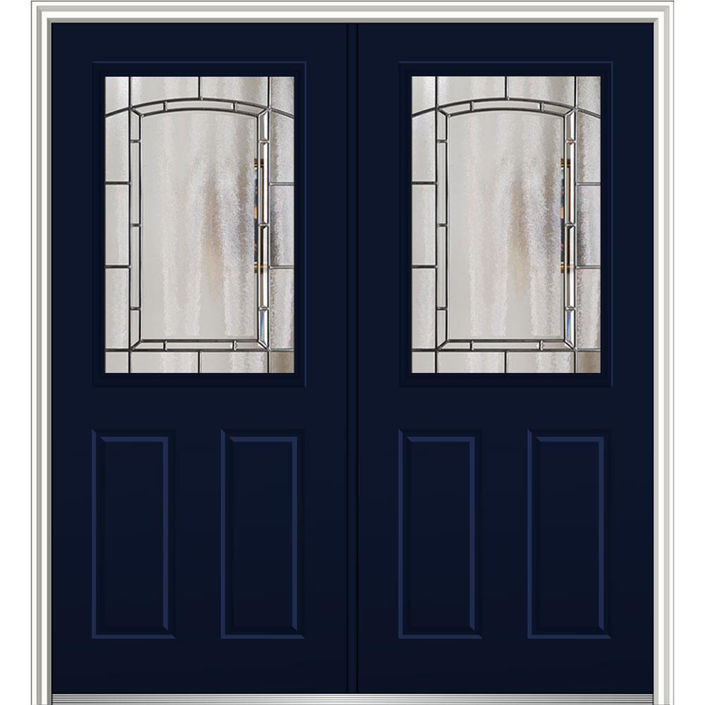64 in. x 80 in. Solstice Glass Naval Right-Hand 1/2-Lite 2-Panel Painted Steel Prehung Front Door