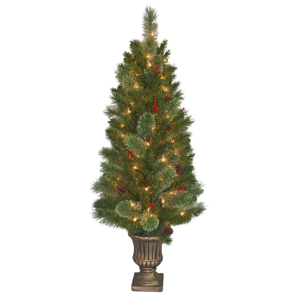 4.5 ft. Cashmere Cone and Berry Decorated Potted Artificial Christmas Tree