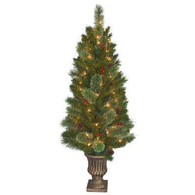 4.5 ft. Cashmere Cone and Berry Decorated Potted Artificial Christmas Tree in Urn with 100 Clear Lights