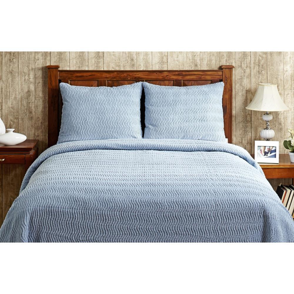 Better Trends Natick Chenille 1-Piece Blue Queen Bedspread SS-BSNAQUBL