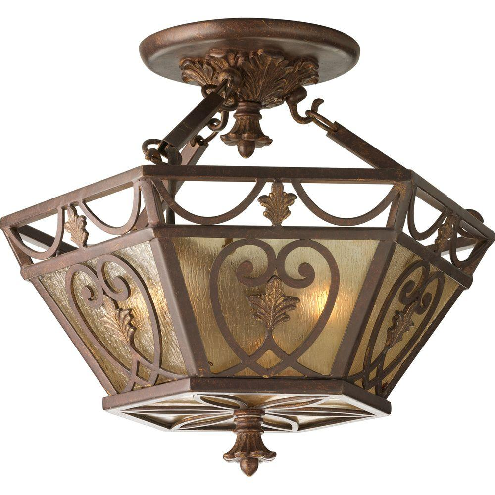 Progress Lighting Drayton Hall Collection Aged Mahogany 3-light Semi-flushmount-DISCONTINUED