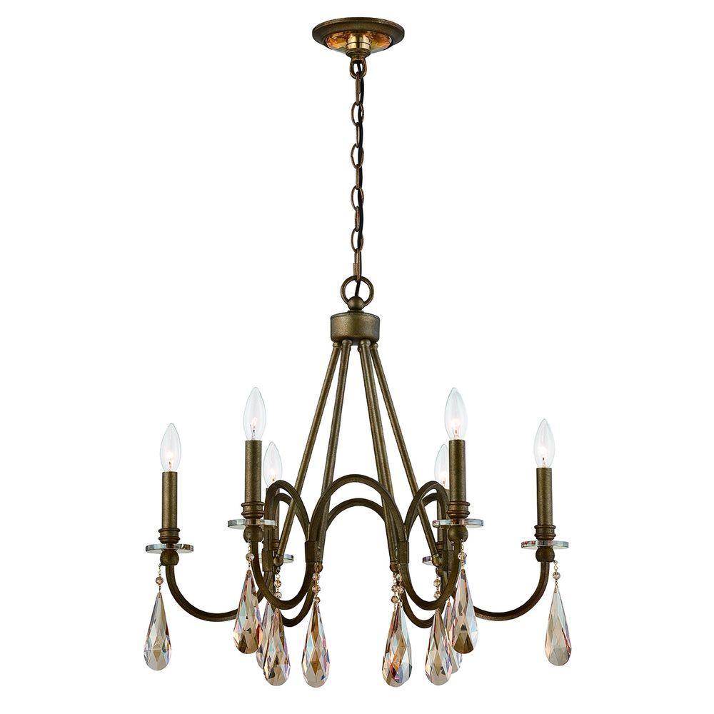 6-Light Bronze Chandelier
