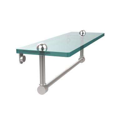 16 in. L  x 5 in. H  x 5 in. W Clear Glass Vanity Bathroom Shelf with Towel Bar in Polished Chrome