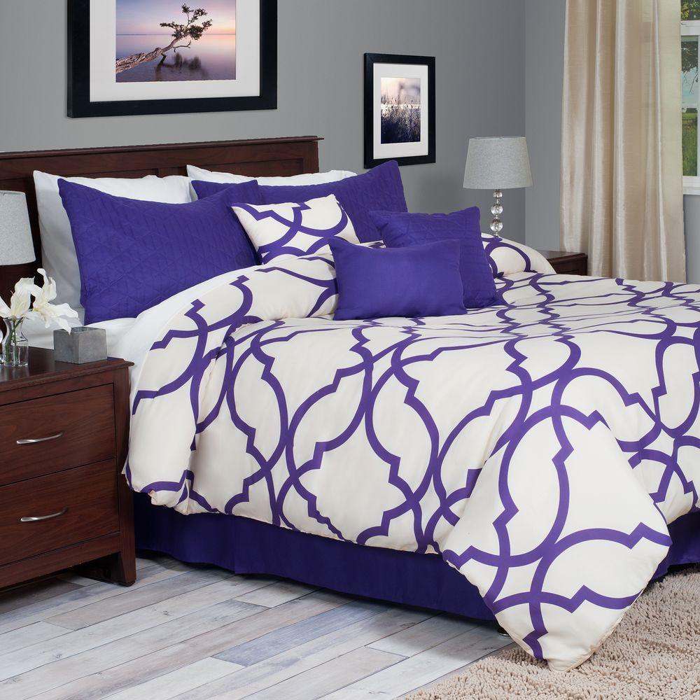 Trellis 7-Piece Purple Queen Comforter Set