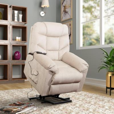 Beige Power and Lift Recliner with Remote Control