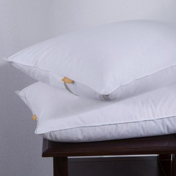 White Puredown® Down Feather Bed Pillow with 100/% Cotton Shell Set of 2